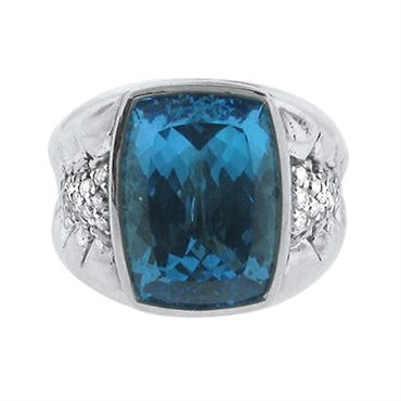image of Scott Kay Sterling Silver Diamond Blue Topaz Ring