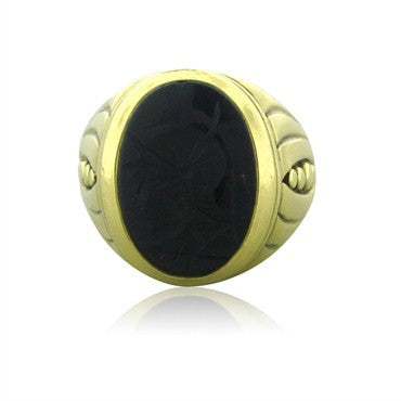image of Circa 1987 Vahe Naltchayan 18K Yellow Gold Onyx Intaglio Ring