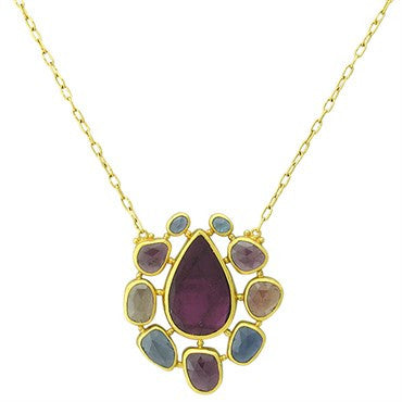 thumbnail image of Gurhan 24k Gold Multi Color Gemstone Pendant Necklace