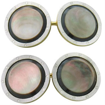 image of 1920s Art Deco Larter & Sons Enamel Mother of Pearl Gold Cufflinks