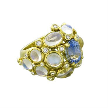 image of Temple St. Clair 18k Gold Blue Moonstone Sapphire Diamond Cluster Ring
