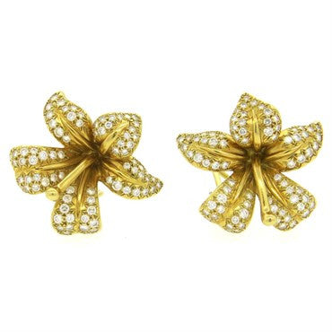 image of Angela Cummings 1.60ctw Diamond 18k Gold Blossom Flower Earrings