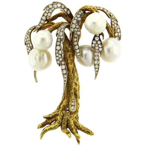 Large Diamond Pearl 18k Gold Tree Brooch Pin