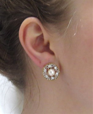 image of Buccellati Pearl Diamond 18k Gold Earrings