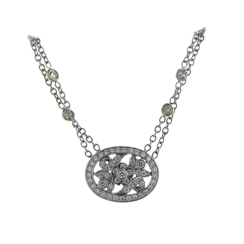 image of Penny Preville 18k Gold Diamond Pendant Double Chain Necklace