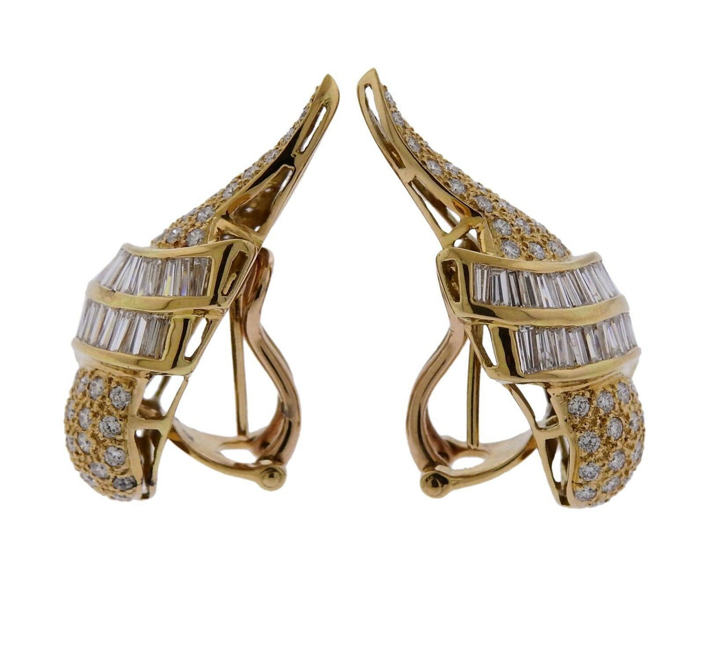 thumbnail image of 3.75ctw Diamond Gold Wing Motif Earrings