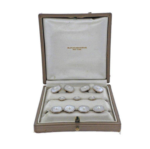 image of Art Deco Platinum Gold Diamond Mother of Pearl Cufflinks Studs Set