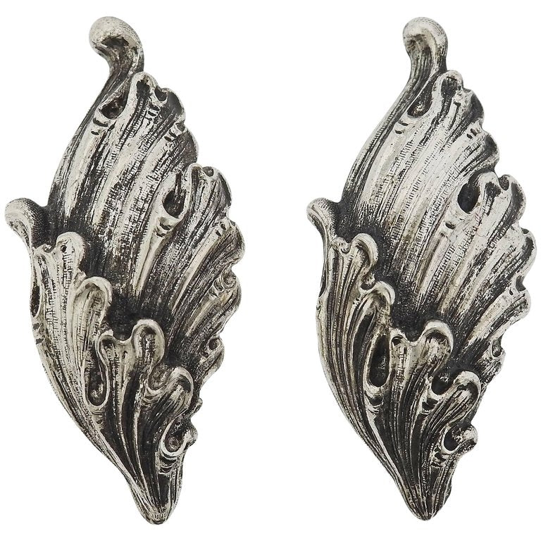 thumbnail image of Buccellati Wing Motif Gold Silver Earrings