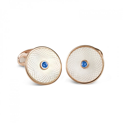 image of Deakin & Francis Sterling White Mother of Pearl Sapphire Dreamcatcher Cufflinks