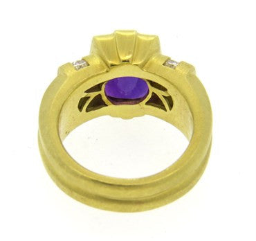 thumbnail image of Fine Elizabeth Rand 18K Gold Amethyst Diamond Cocktail Ring