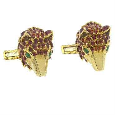 image of David Webb Enamel 18k Gold Fox Cufflinks