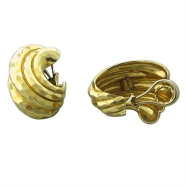 thumbnail image of Large Henry Dunay 18K Gold Hammered Finish Earrings