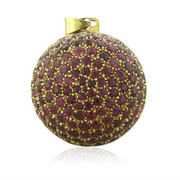 image of Vintage Gucci 18K Yellow Gold Ruby Locket Ball Pendant