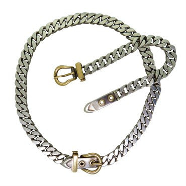 thumbnail image of Classic Hermes Silver Gold Buckle Necklace Bracelet Set