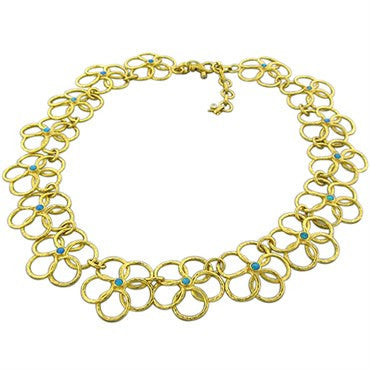 thumbnail image of New Gurhan 24K Yellow Gold Diamond Opal Flower Necklace