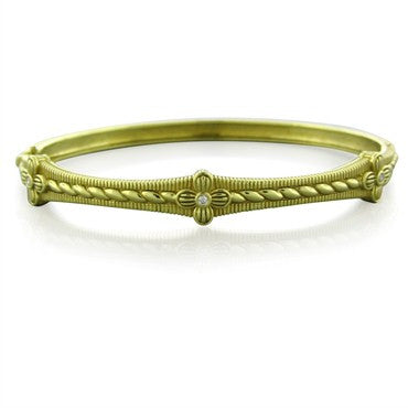 image of Judith Ripka Romance 18K Yellow Gold Diamond Flower Bangle Bracelet