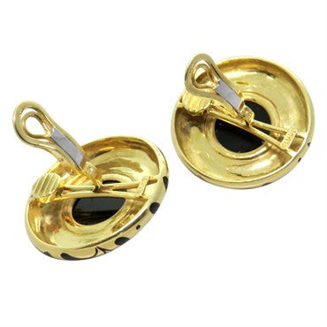 image of Elizabeth Gage Onyx 18k Gold Earrings