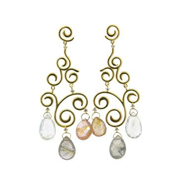 image of H. Stern 18K Gold Diamond Multi Gemstone Briolette Chandelier Earrings