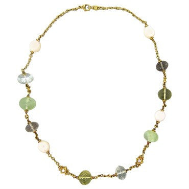 image of Judith Ripka 18k Gold Pearl Multicolor Quartz Necklace