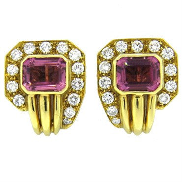 thumbnail image of Classic 1980s Pink Tourmaline 1.20ctw Diamond 18k Gold Earrings