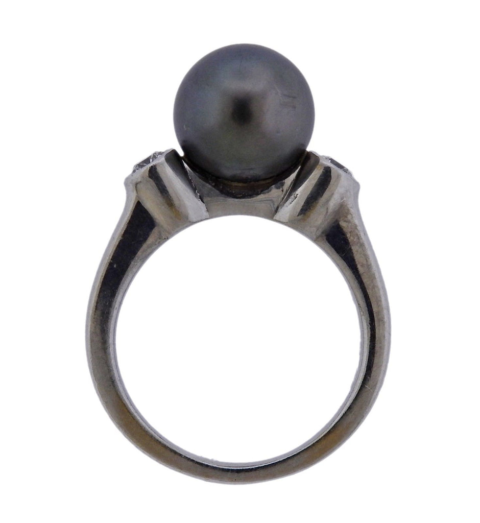 thumbnail image of Mikimoto Tahitian Pearl Diamond 18k Gold Ring