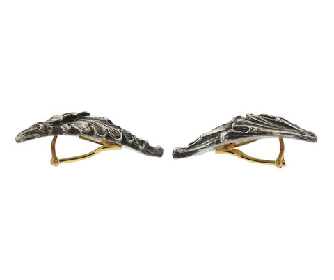 image of Buccellati Wing Motif Gold Silver Earrings
