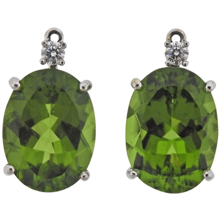 thumbnail image of Adria De Haume 20 Carat Peridot Diamond Gold Earrings Pendants