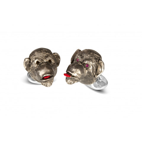 image of Deakin & Francis Cheeky Monkey Blackened Silver Ruby Cufflinks