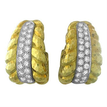 image of David Webb 18k Gold Platinum Hammered Finish 3.00ctw Diamond Earrings