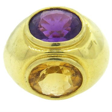 image of Tiffany & Co. Paloma Picasso Amethyst Citrine Gold Large Dome Ring