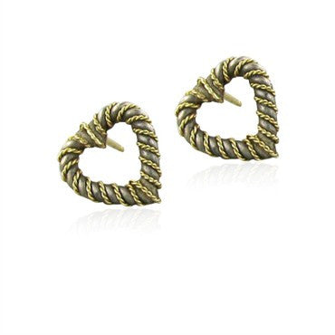 thumbnail image of Vintage Tiffany & Co. Sterling Silver 18K Yellow Gold Heart Earrings