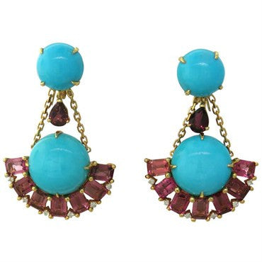 thumbnail image of Turquoise Pink Tourmaline Turquoise Diamond Gold Earrings