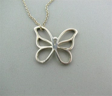 thumbnail image of Estate Tiffany & Co Sterling Silver Butterfly Pendant Chain Necklace
