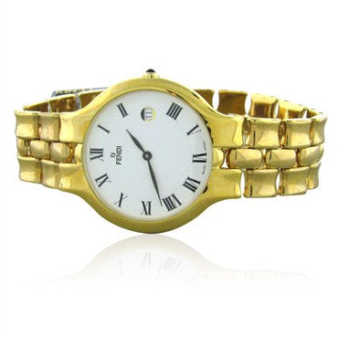 image of New Fendi Womens White Dial Gold Tone Ladies Watch F88140
