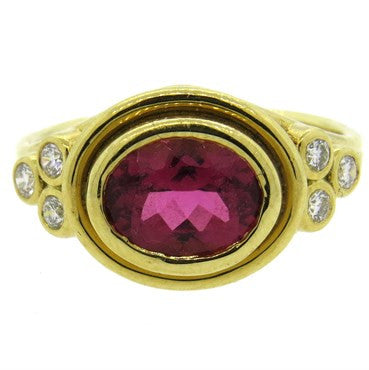image of Temple St. Clair Pink Tourmaline Diamond 18k Gold Ring