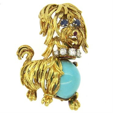 thumbnail image of 1960s Turquoise Sapphire Ruby and Diamond 18k Gold Dog Brooch Pin