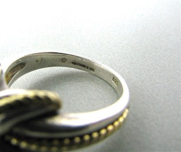 thumbnail image of Estate Tiffany & Co Signature 18K Yellow Gold Sterling Silver X Ring