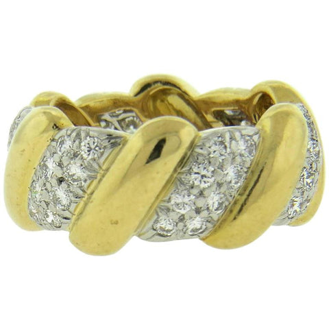 David Webb Diamond 18k Gold Platinum Wedding Band Ring