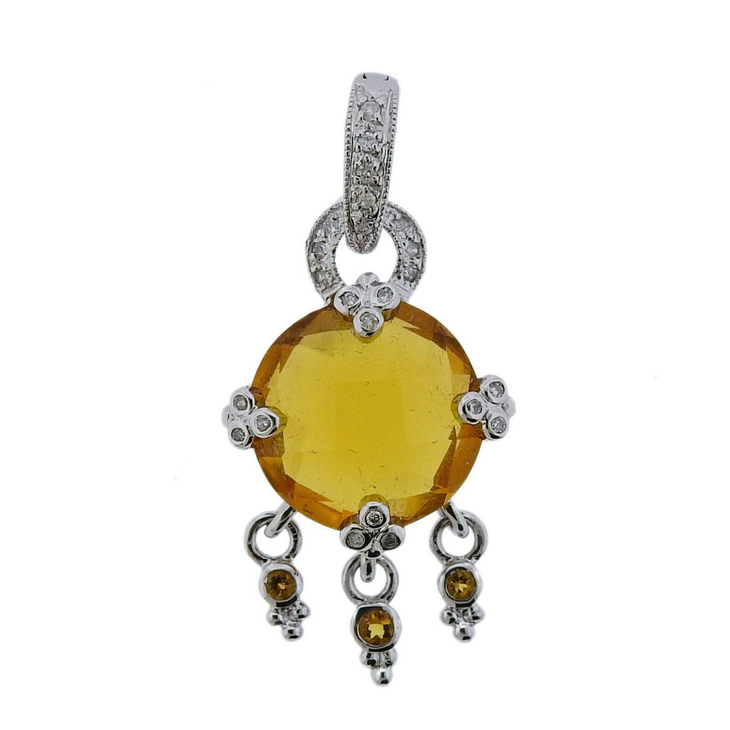 thumbnail image of 14k Gold Citrine Diamond Drop Pendant
