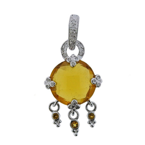 image of 14k Gold Citrine Diamond Drop Pendant