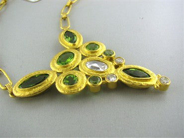 thumbnail image of New Gurhan Periwinkle 24K Gold Peridot Diamond Necklace