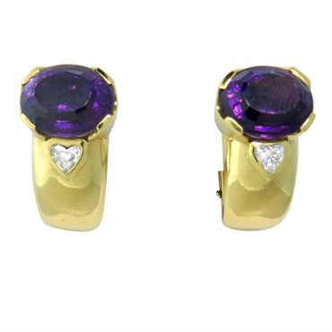 thumbnail image of H. Stern 18k Gold Amethyst Diamond Earrings