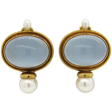 image of Elizabeth Gage Milky Aquamarine Pearl 18k Gold Earrings