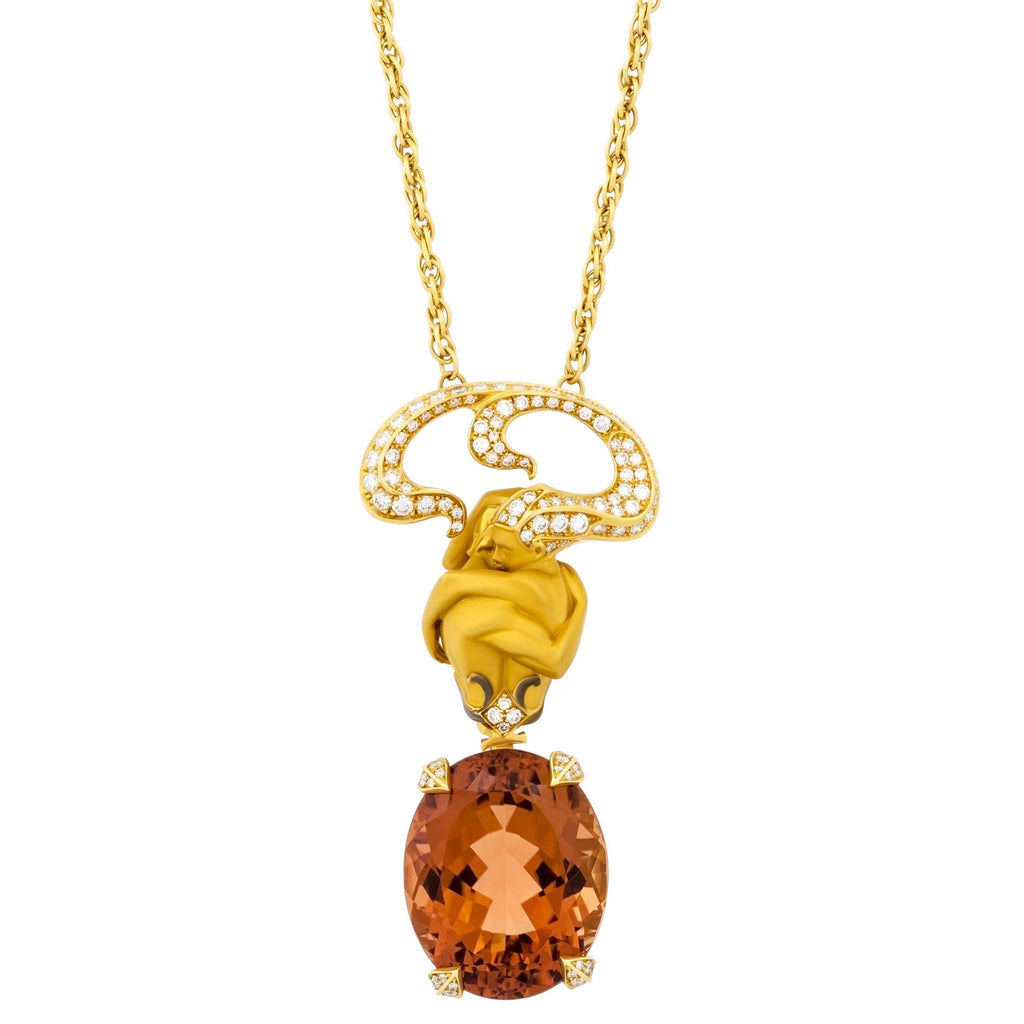 thumbnail image of Magerit Versalles Couple Special Gold Diamond Orange Tourmaline Pendant Necklace