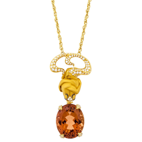 image of Magerit Versalles Couple Special Gold Diamond Orange Tourmaline Pendant Necklace