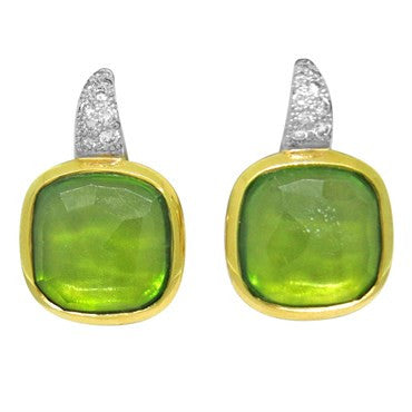 thumbnail image of New Pomellato Sherezade 18k Gold Diamond Peridot Earrings