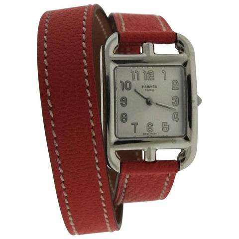 Hermes Stainless Steel Cape Cod Double Tour Wrap Quartz Wristwatch