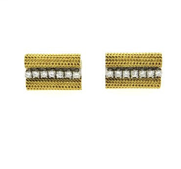 image of 1970s Tiffany & Co. Diamond 18k Gold Cufflinks