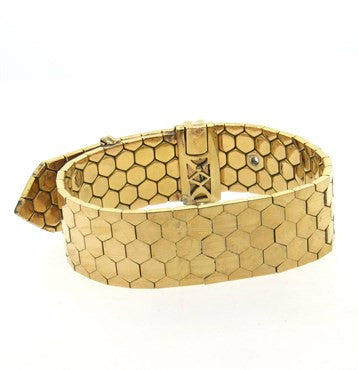 thumbnail image of Retro 18k Gold Honeycomb Buckle Wide Bracelet
