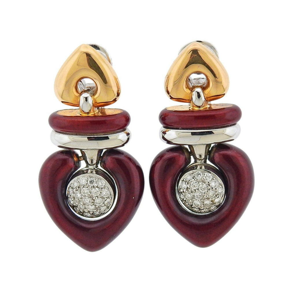 thumbnail image of La Nouvelle Bague Two Tone Gold Diamond Enamel Earrings